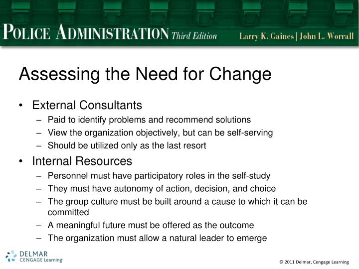 Assessing the Need for Change