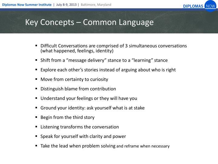 Key Concepts – Common Language