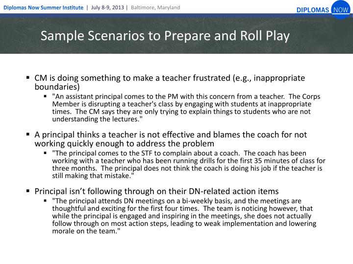 Sample Scenarios to Prepare and Roll Play