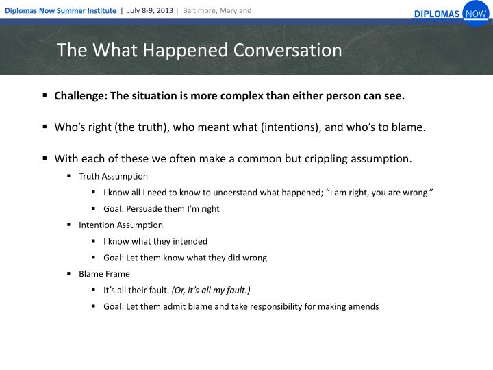 The What Happened Conversation