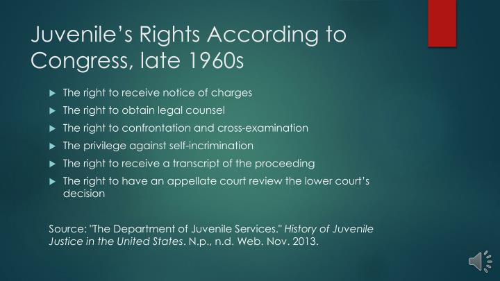 Juvenile's Rights According to Congress, late 1960s