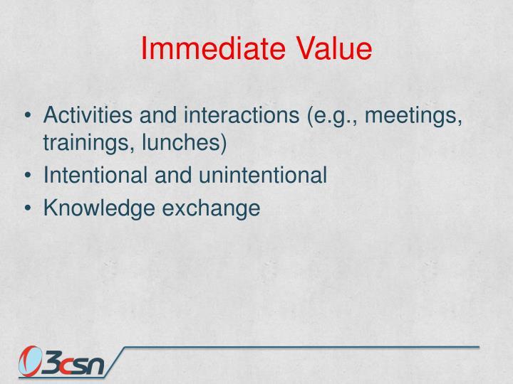 Immediate Value