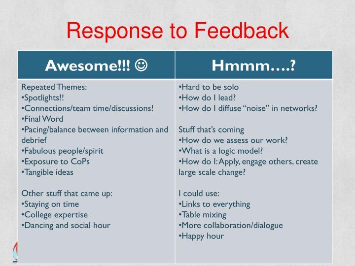Response to Feedback
