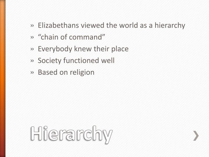 Elizabethans viewed the world as a hierarchy