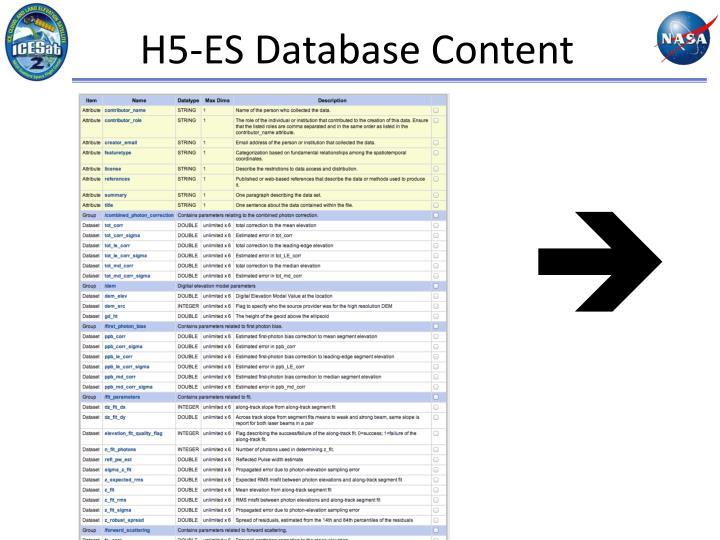 H5-ES Database Content
