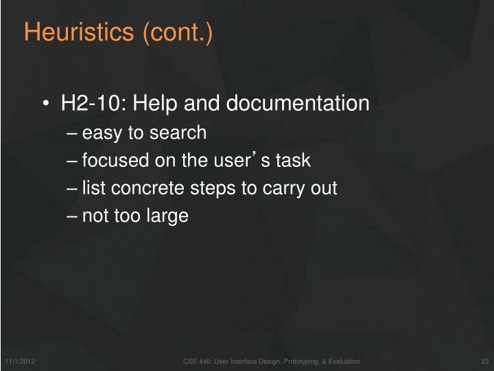 Heuristics (cont.)