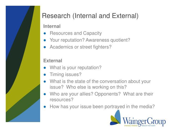 Research (Internal and External)