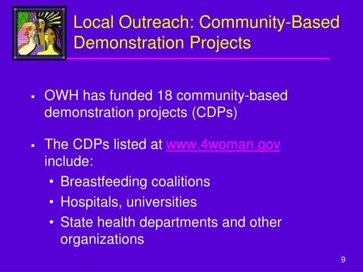 Local Outreach: Community-Based Demonstration Projects