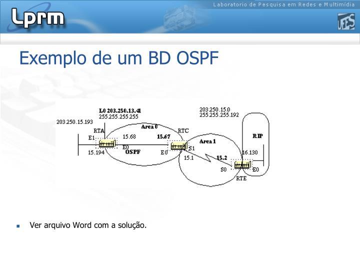 Exemplo de um BD OSPF