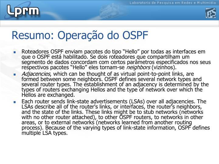 Resumo: Operação do OSPF