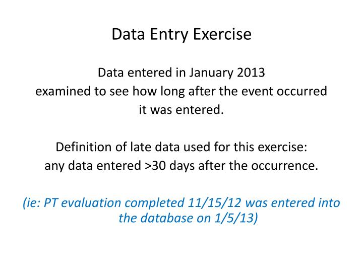 Data Entry Exercise