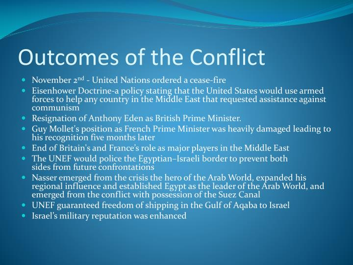 Outcomes of the Conflict
