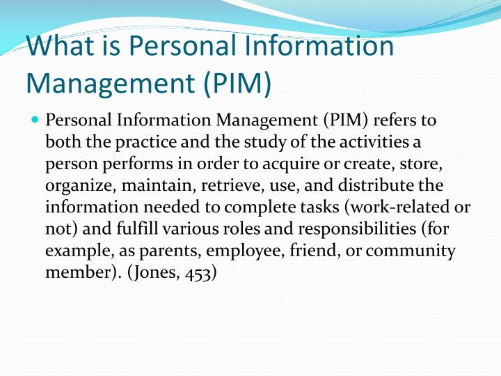 What is Personal Information Management (PIM)
