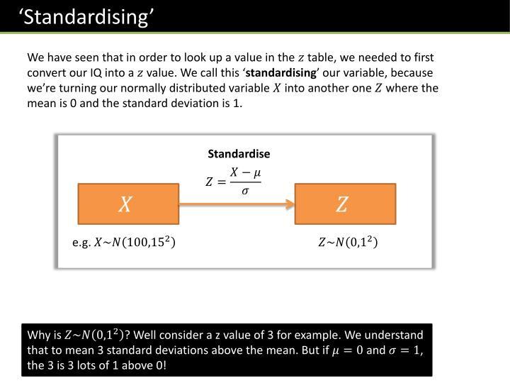 'Standardising'