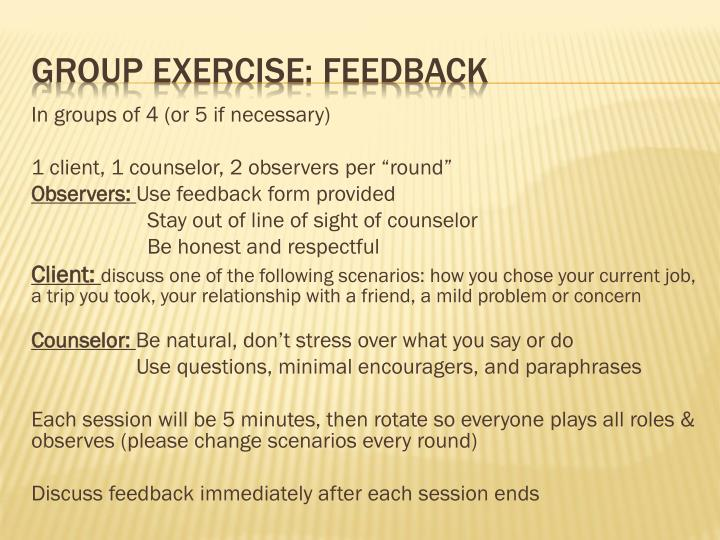 Group exercise feedback