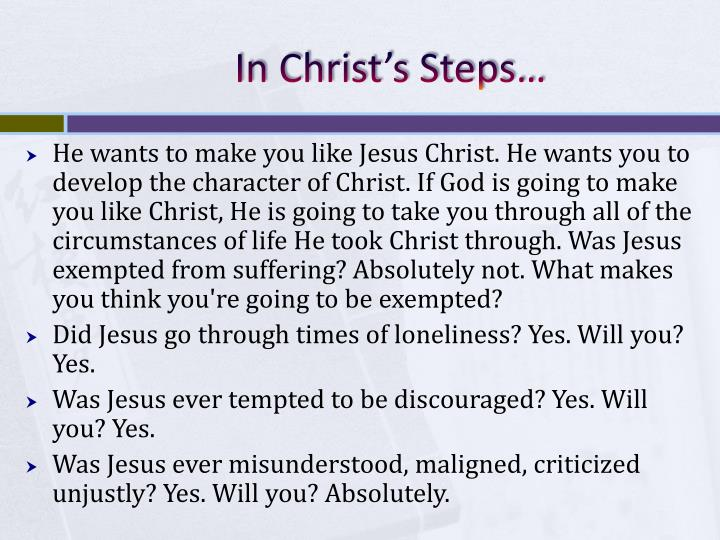 In Christ's Steps…