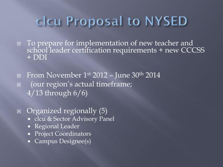 Clcu proposal to nysed