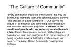 the culture of community