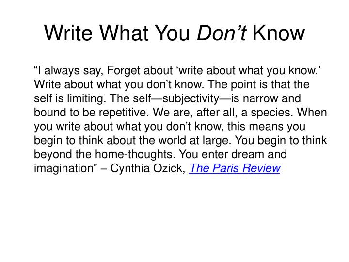 Write What You