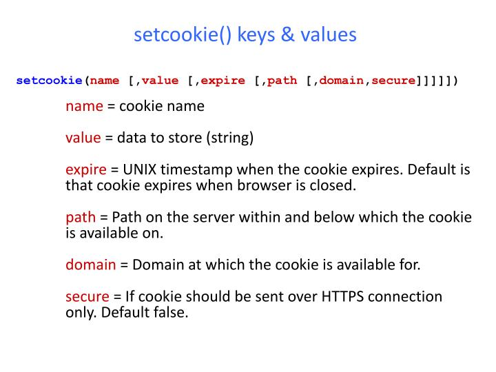 setcookie