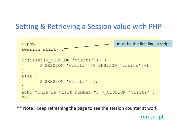 Setting & Retrieving a Session value with PHP