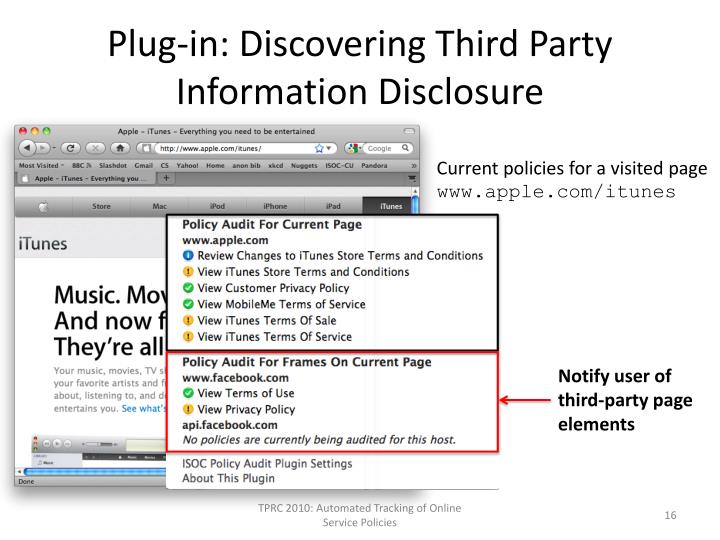 Plug-in: Discovering Third Party Information Disclosure