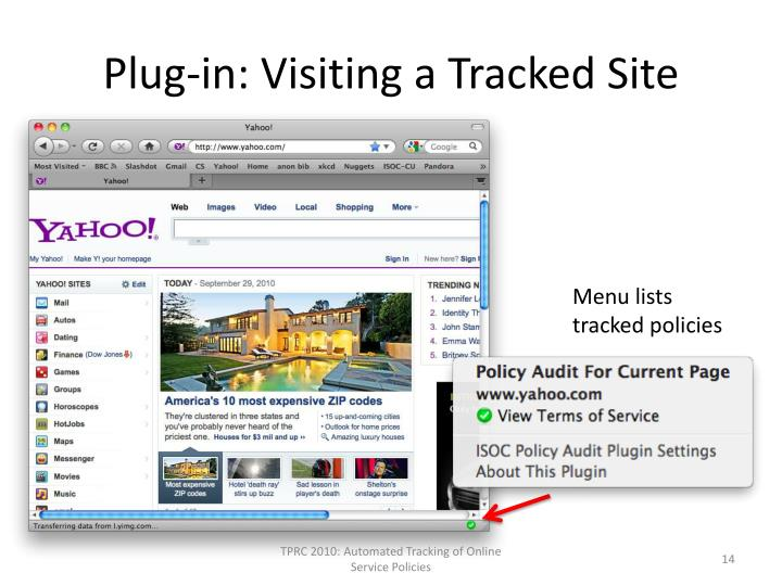 Plug-in: Visiting a Tracked Site