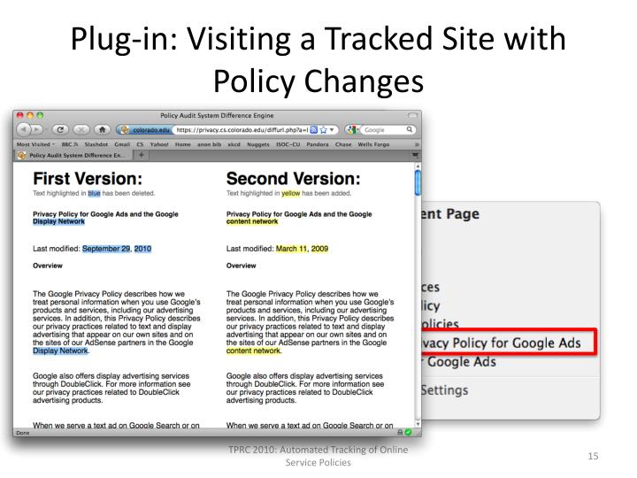 Plug-in: Visiting a Tracked Site with Policy Changes