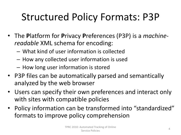 Structured Policy Formats: P3P
