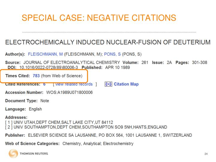 SPECIAL CASE: NEGATIVE CITATIONS
