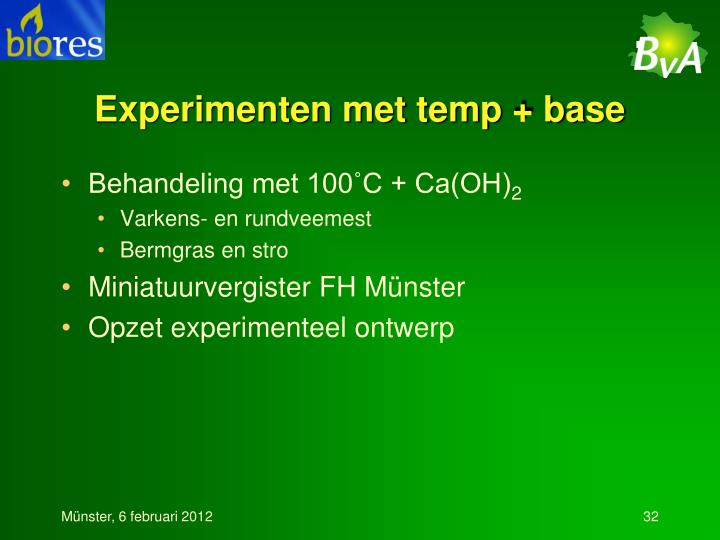 Experimenten met temp + base