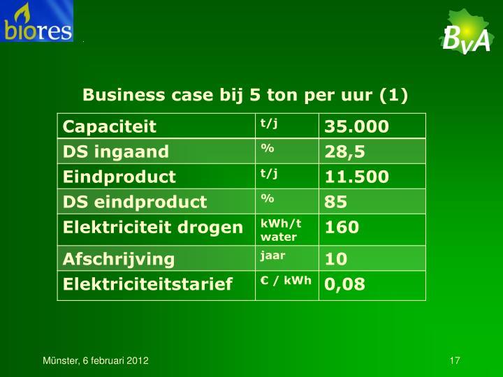 Business case bij 5 ton per uur (1)