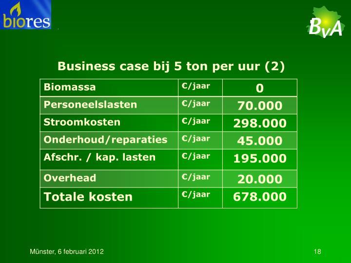 Business case bij 5 ton per uur (2)