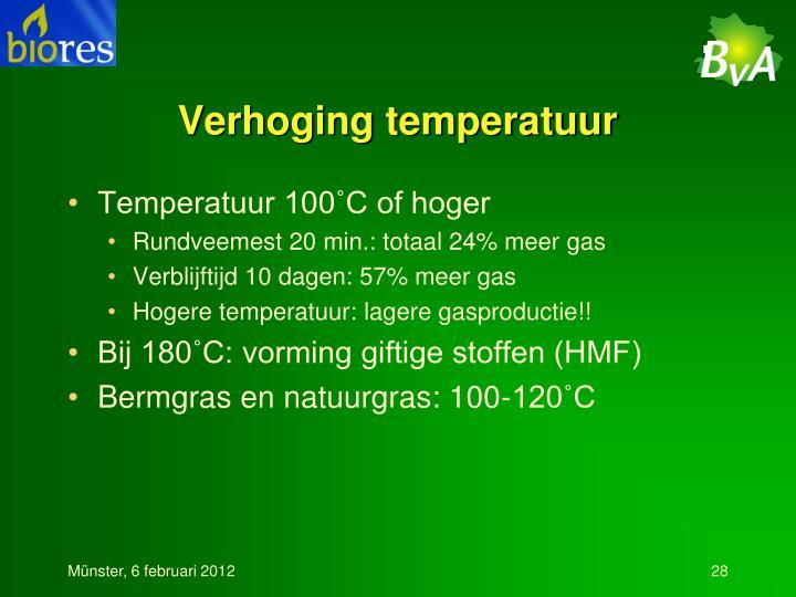 Verhoging temperatuur