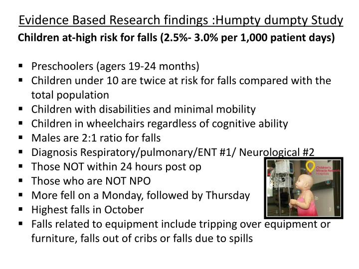 Evidence Based Research findings :Humpty dumpty Study