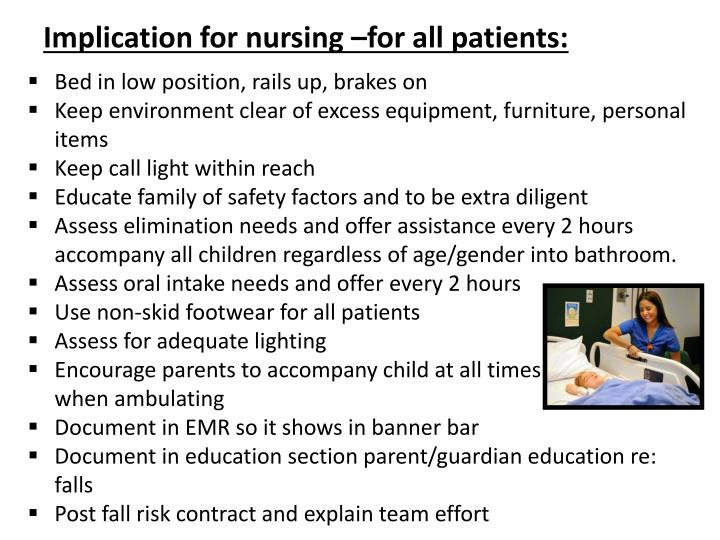 Implication for nursing –for all patients: