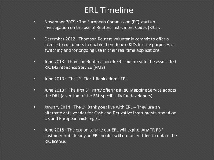 ERL Timeline