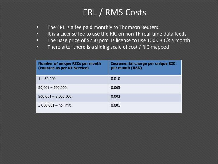 ERL / RMS Costs