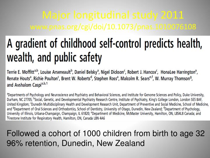 Major longitudinal study 2011