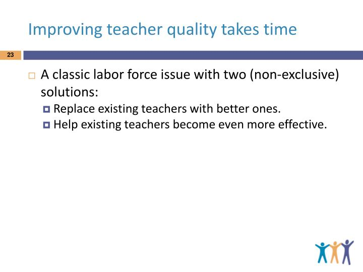 Improving teacher quality takes time