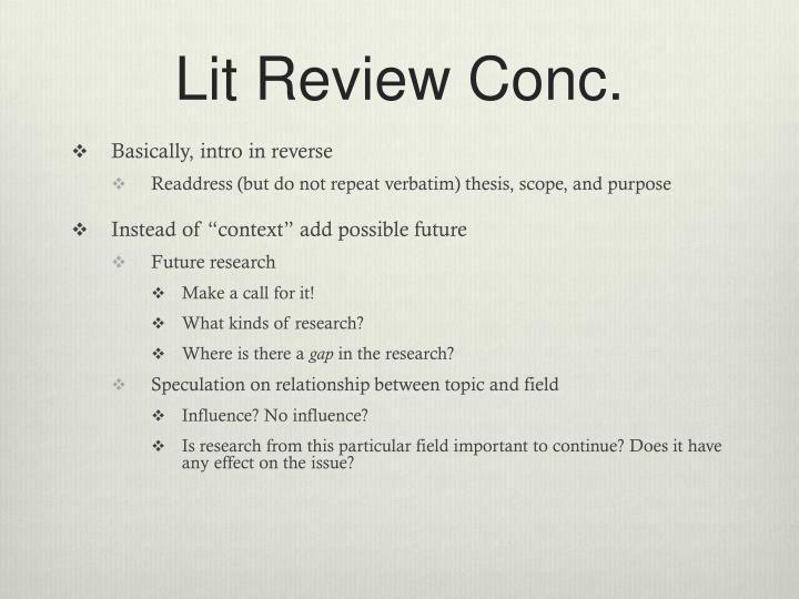 Lit Review Conc.