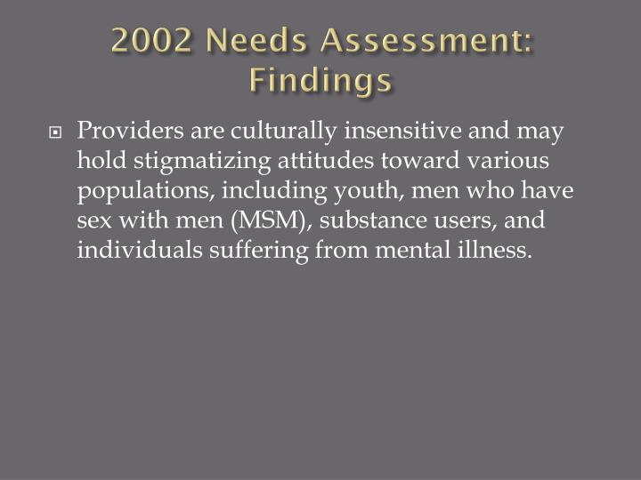 2002 Needs Assessment: Findings