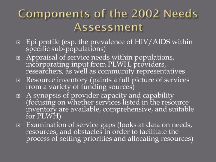 Components of the 2002 Needs Assessment