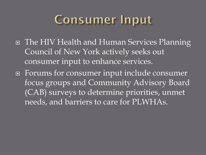 Consumer Input