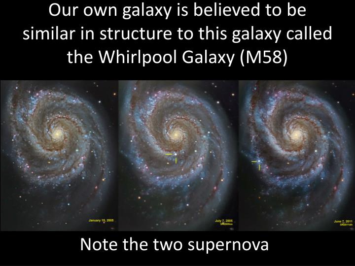Our own galaxy is believed to be similar in structure to this galaxy called the Whirlpool Galaxy (M58)