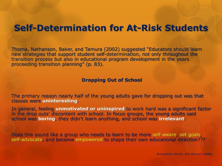 Self-Determination for At-Risk Students