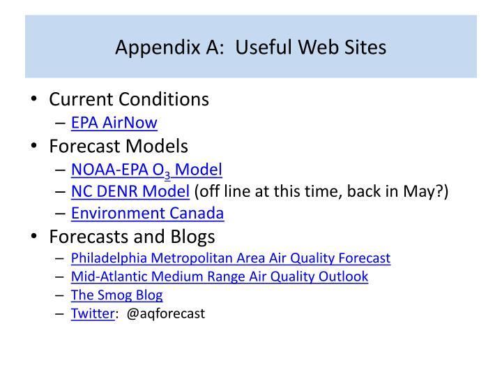 Appendix A:  Useful Web Sites