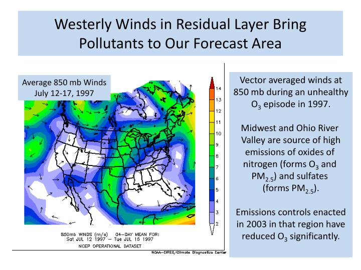 Westerly Winds in Residual Layer Bring Pollutants to Our Forecast Area
