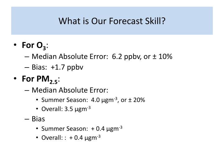 What is Our Forecast Skill?
