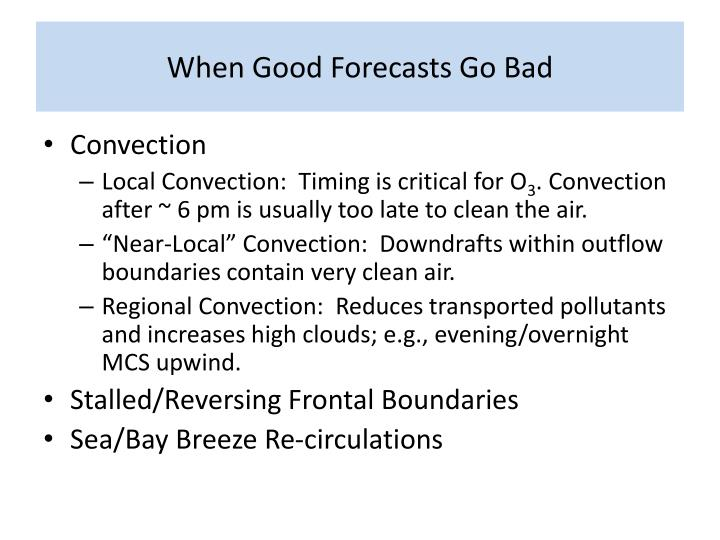 When Good Forecasts Go Bad